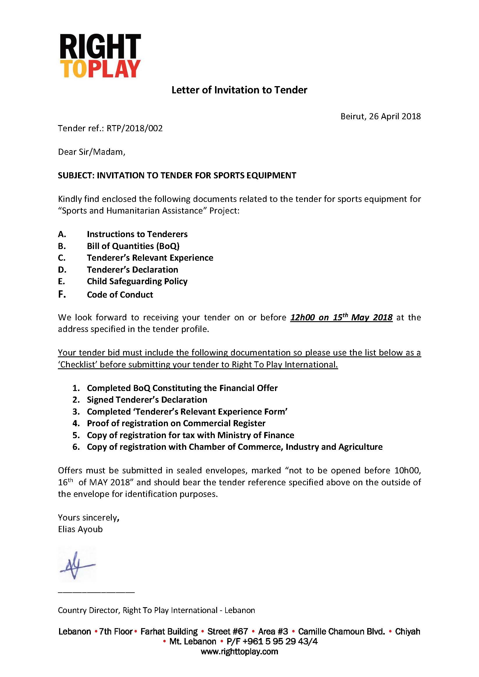 Right To Play Tender Ref # RTP/2018/002: tender For Sports
