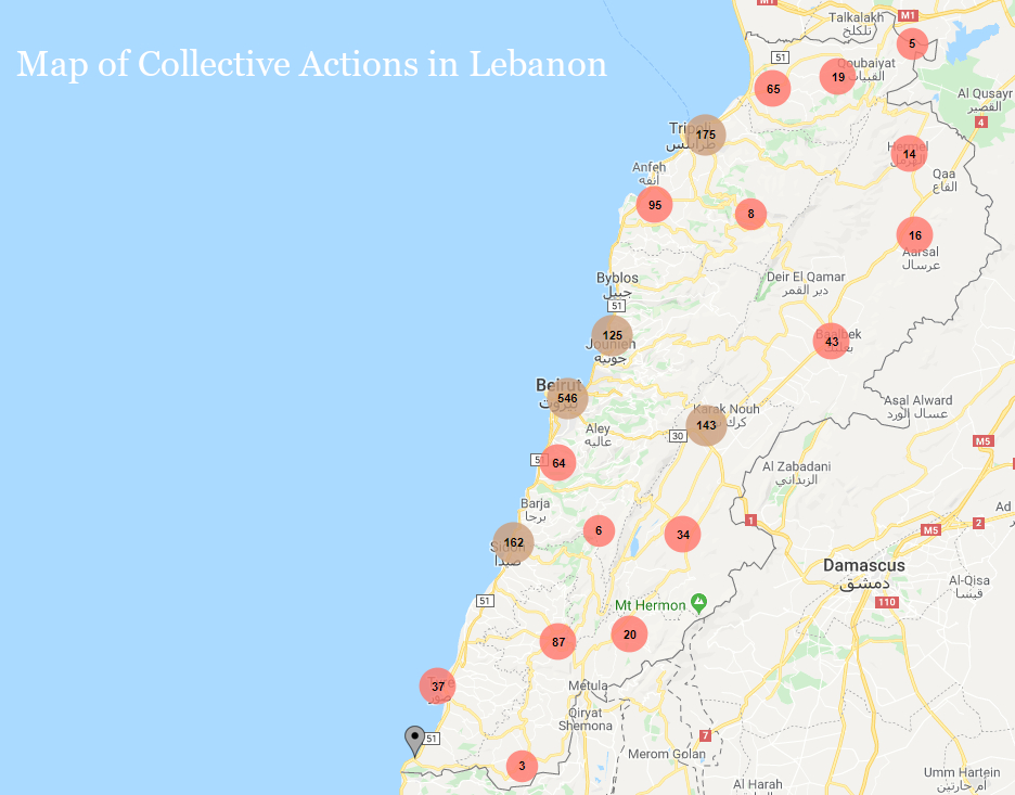 Map of Collective Actions in Lebanon