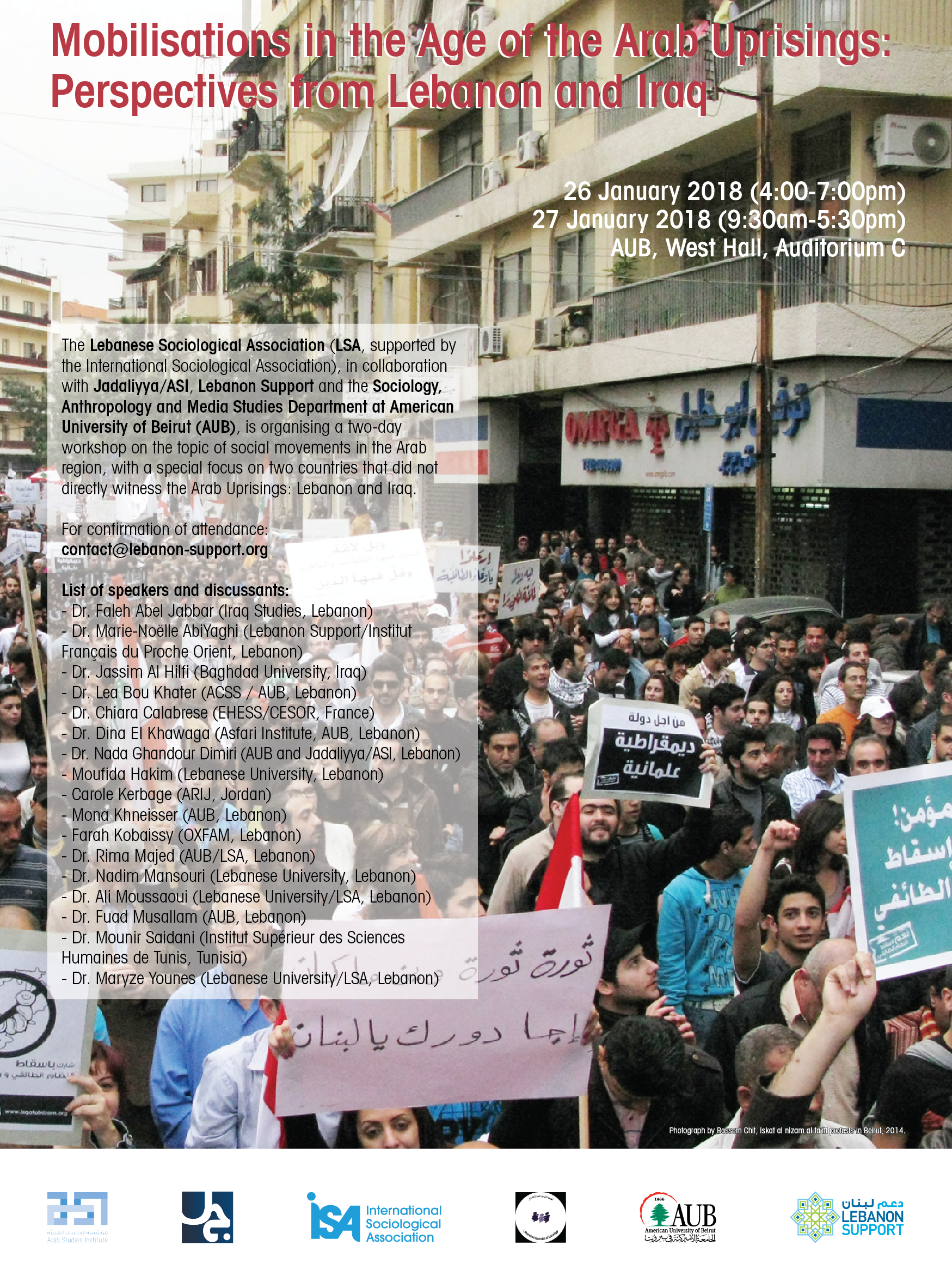 Mobilisations in the Age of the Arab Uprisings: Perspectives from Lebanon and Iraq event poster