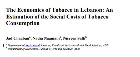 The Economics Of Tobacco In Lebanon: An Estimation Of The Social Costs Of Tobacco Consumption (Full Report) - Ifi Paper