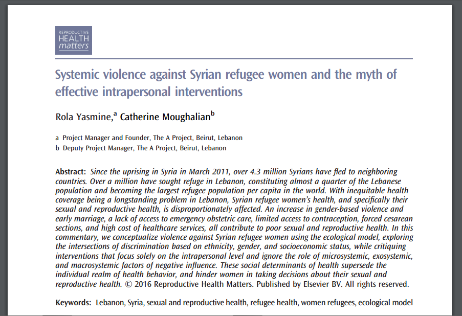 Systemic Violence Against Syrian Refugee Women And The Myth Of Effective Intrapersonal Interventions