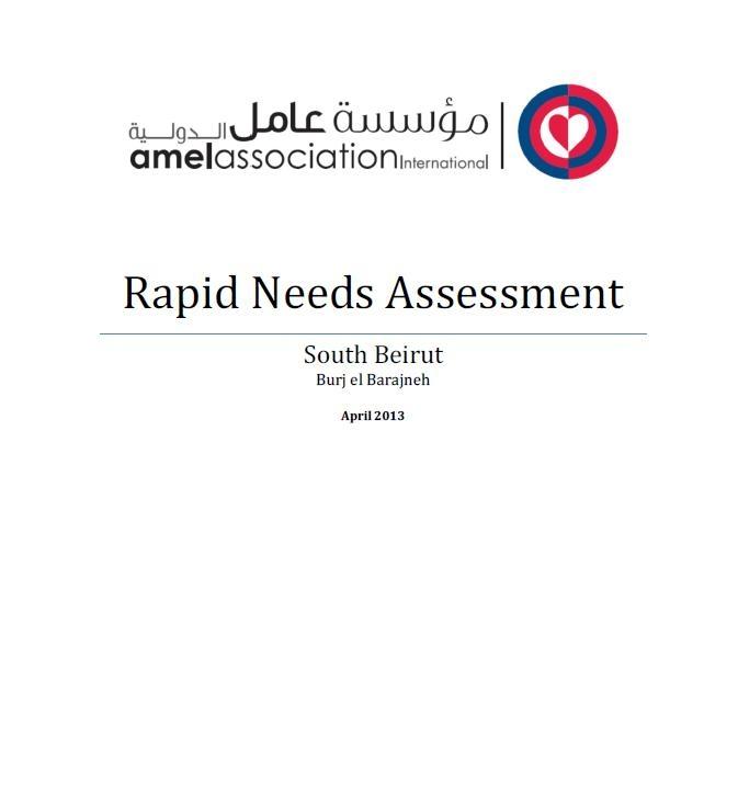 Rapid Needs Assessment - Beirut Southern Suburb - Burj Al-Barajneh