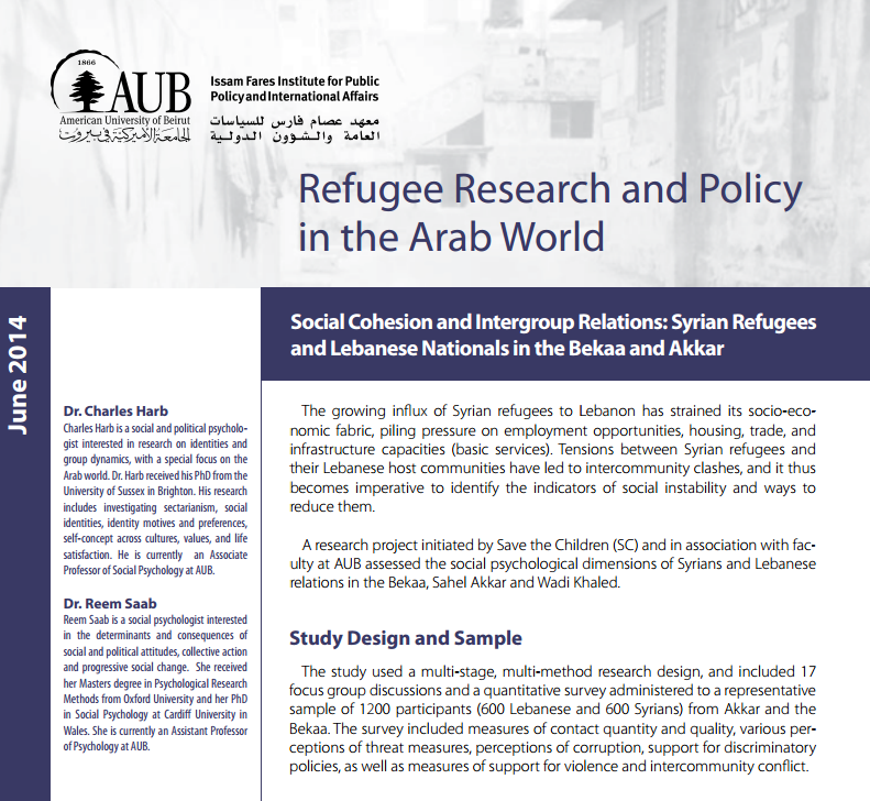 Social Cohesion And Intergroup Relations: Syrian Refugees And Lebanese Nationals In The Bekaa And Akkar