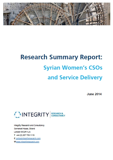 Research Summary Report: Syrian Women's Csos And Service Delivery