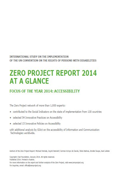 Zero Project Report 2014 At A Glance - Accessibility